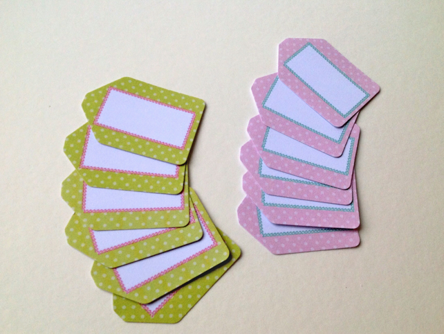 Small Card Tags with Blank Label Image,Pink&Green Polka Dots Print,100pk