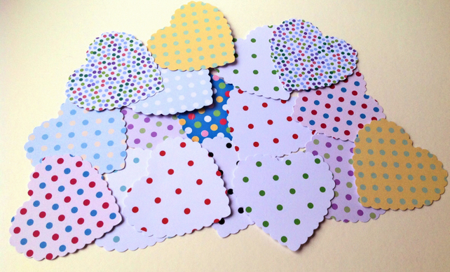 Card Heart Shapes,Large Scalloped Hearts,Dots & Spots Print,30pk