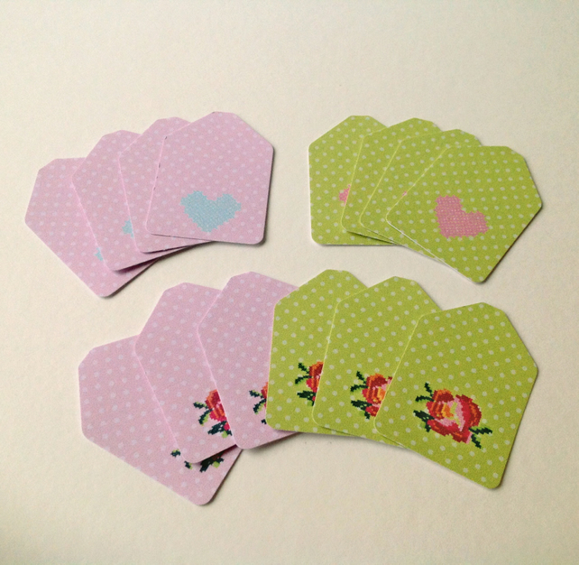 Small Card Tags with Cross Stitch Design,Polka Dot Printed Card,100pk