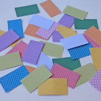 Card Shapes For Craft,Rectangles In Assorted Colours of Polka Dot Print,100pk