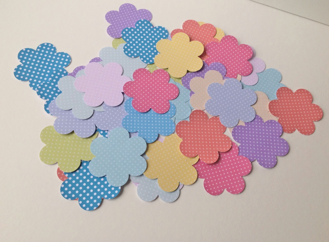 Card Shapes For Craft,Large Blossom Flowers in Polka Dots Various Colours,100pk