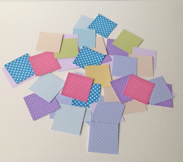 Card Straight Edge Squares Shapes,Polka Dot Pattern in Various Colours,100pk