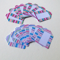 Small Card Tags with Label Image,Bright Candy Stripes,100pk