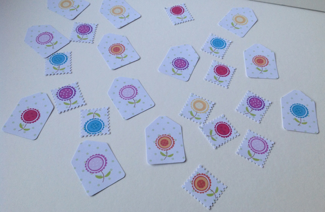 Small Card Tags&Postage Stamp Shapes,Mixed Bag of 100