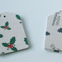 Christmas Gift Tags,'Holly' Printed Card,Handmade Gift Tags,30 Pack