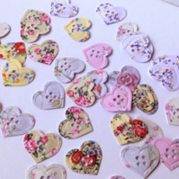 Card Craft Shapes,Vintage Floral Heart Buttons-100pk
