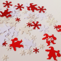 Christmas Shapes 'Santa's & Snowflakes'Assorted Mixed 100 pk,Red&White Colours
