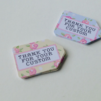 Label Style Mini Message Tags,'Thank You For Your Custom',100pk
