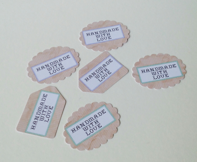 Label Style Message Tags,Scalloped Oval,and Mini Tags'Handmade With Love'30pk