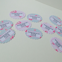 Label Style Message Tags,Scalloped Ovals,'Handmade with Love'100pk