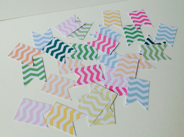 Card Shapes,Flags,Bunting,Bright Chevron Printed Card,100pk