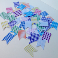 Card Shapes,Flags,Bunting,Assorted Gingham Shades,Printed Card.