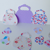 Card Shapes for Craft,Assorted Sized Handbag Shapes,Varied Colours and Prints.