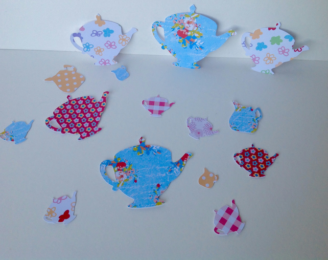 Card Craft Shapes,Teapots,Varied Sizes and Prints,Pretty Floral Shapes,100pk