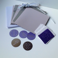 Christmas Card,DIY PK,Xmas Cards To Decorate,PK of Five,Purple and Silver