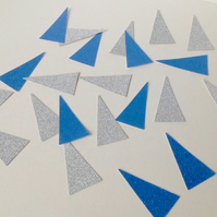 Christmas Glittered Card Shapes,Triangles Blue Silver,100 pack