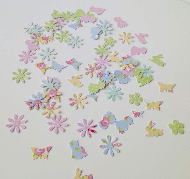 Spring Themed Card Shapes For Craft,Chicks,Rabbits,Butterflies,Daisies 100pk