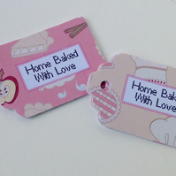 Card Gift,Label,Blank Message Tags,Co-Ordinating 30pk,'Baked With Love'