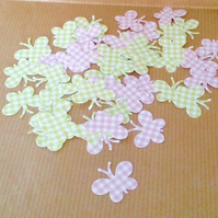 Gingham Butterfly Shapes in Lime Green and Pastel Pink 100pk