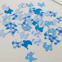 Card,Paper Shapes for Craft,Baby Pram,Shades of Blue.