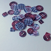 Card Craft Shapes, Card Buttons, Red and Black Tartan Printed Card