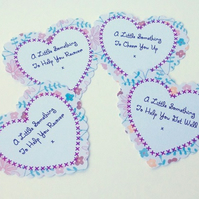 Heart Message Tag Set,Large Scalloped Hearts,Get Well,Recover,Message PK 30