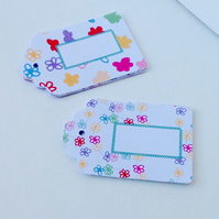 Label Style Message Tags,'Doodle Flowers'Handmade Tags,Personalised,Customised.