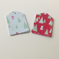 Christmas Trees,Snowmen,Gift or Message Tags,30pk,Two Designs,Xmas Gift Tags