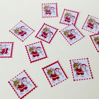 Christmas Postage Stamp Shapes,Old Fashioned Santa Print,100pk