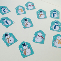 Small Blank Tags,'Jolly Snowmen',100pk Xmas Gift Tags,Handmade