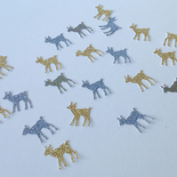 Glittered Card Deer Shapes,Gold,Silver Mix,100pk Card Craft Shapes
