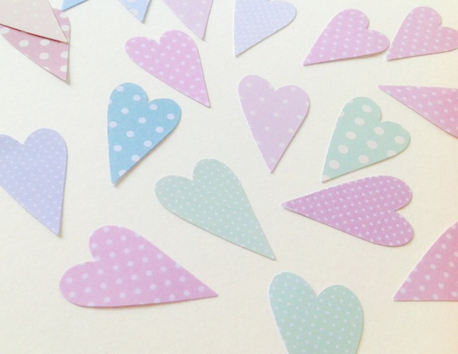 Card Modern Heart Shapes,Pastel Polka Dots,Various Shades Patterned Card,100pk