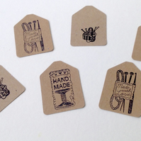 Hand Stamped,Kraft Card Message Tags,Handmade Message Tags,100pk