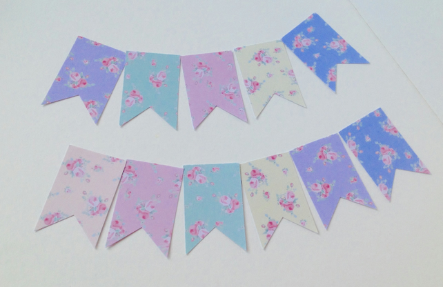 Card Shapes,Flags,Bunting,Tags,'Shabby Chic'Florals Printed Card,Handmade