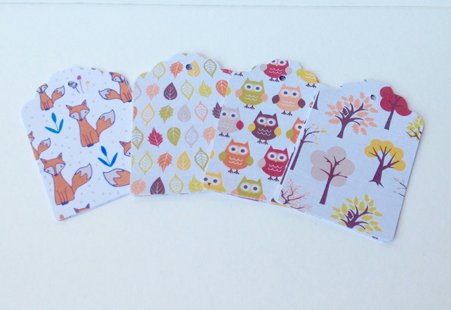 Card Gift,Message Blank Tags,Pack of 30,Handmade Tags,'Autumn Time'