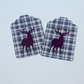 Gift Message Tags,Stag On Tartan,Blank Gift Tags,30pk of Handmade Tags