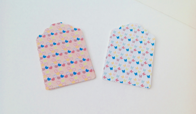 Card Gift,Message Blank Tags,30pk,Handmade Tags,Butterfly and Hearts Theme