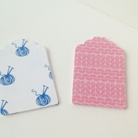 Card Message,Gift,Tags,30pk,Co-Ordinatined Wool,Knitting Printed Card