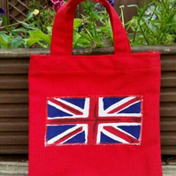 Union Jack, small red gift bag