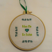 "St Patricks day ' Kiss me I'm Irish' cross stitch design framed in a 6"" hoop, on"