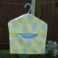 Bright Yellow leaf peg bag, made from recycled cotton,handy storage
