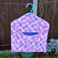 Pillowcase peg bag, pink floral design with blue lining,handy storage, not just