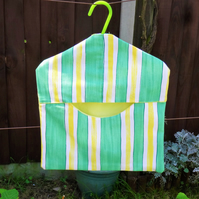Green and yellow stripe peg bag, handy storage, not just for pegs!