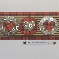 Tartan Heart Christmas Card