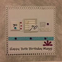 70th Birthday Card - personalised with name