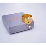 Lion Door knocker Ring. Gold Vermeil. Gold plated. Silver avail.