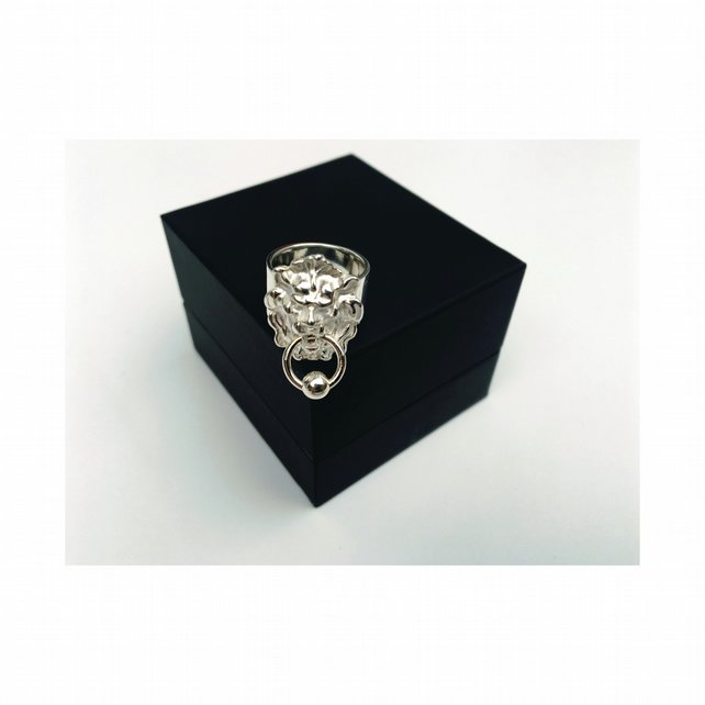 Silver Lion Door Knocker Ring. Also Avail In GOLD