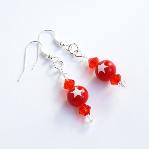 Earrings -Red & White - Star