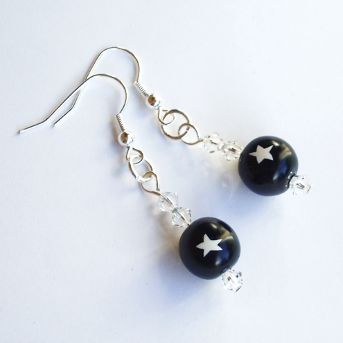 Earrings - Navy and White - Star