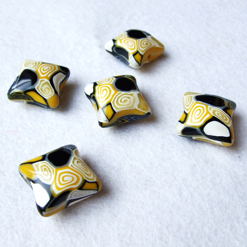 Handcrafted Yellow and Black Polymer Clay Pillow Beads - Lulu